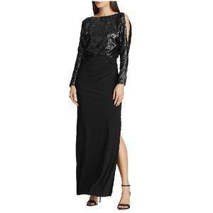 LAUREN RALPH LAUREN Sequined-bodice Jersey Gown